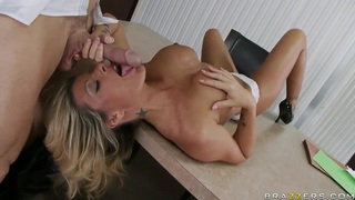 Kristal Summers and Johnny Sins hard fuck in chief's office