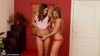 Dicks get hard when Ashley and brunette chick make out