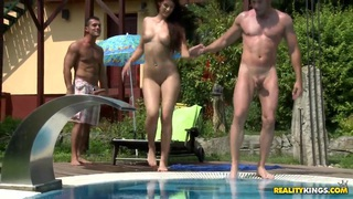 Beauty gets double fucked in the pool