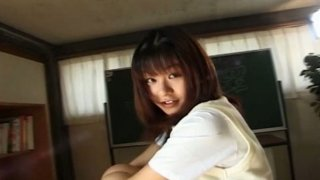 Chubby face Eiri Ueno teases you showing what is under her skirt