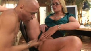 Horny bald dude eats Flower Tucci's wet snatch