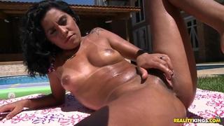 Oh, sweet mulatto, Leona Yamamoto, exciting us with her body