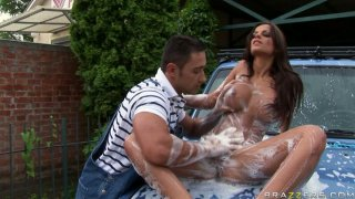Breathtaking car washing with jaw dropping brunette Angelika Black