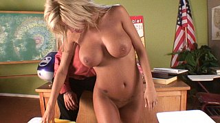 Teacher fucks his blonde student after the class