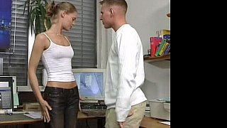 Hot German Russian teen in office sex action