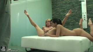 Eve Angel and her blonde friend stick all kinds of shit in their pussies