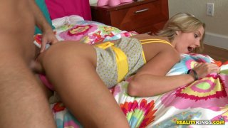 Shiny blonde chick Megan Sweetz gets nailed doggystyle
