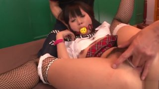 Tight college girl Kotomi Asakura fucked by two males
