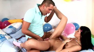 Kinky spoiled black head Julya Bright gets analfucked at the birthday party