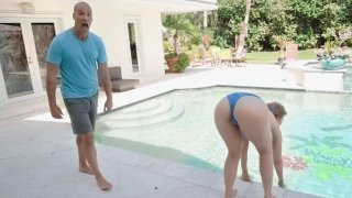 Sexy Lena Paul pool-side euphoria