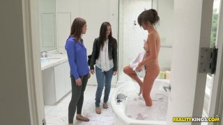The girlfriends of Malena Morgan visit her and finger her pussy