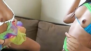 Two sexy big boobs college teens fucked by pervert men