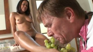 Foot fetishist eats grapes from feet of Chyanne Jacobs