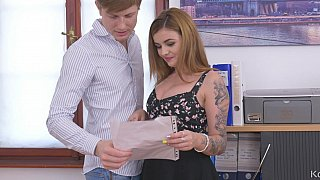 Tattooed office girl seduced by her co-worker