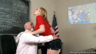 Short haired blonde secretary Lily LaBeau blows her  chief's fat cock