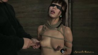 Blindfolded brunette Marica Hase gets tied up with ropes in the dark room