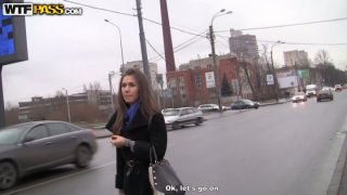 Nice girlie wanders along the street and hopes to find a stud for a fuck