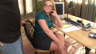 Sexy business woman Flower Tucci giving footjob in the office
