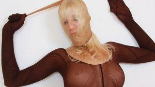 Slutty blonde distorted nylon mask face