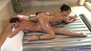 Hot lesbians Asa Akira and Kortney Kane have nuru massage