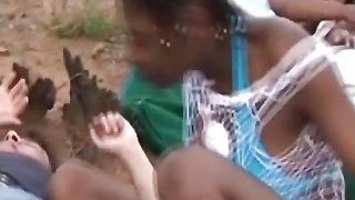 Wild outdoor interracial group sex with hot African