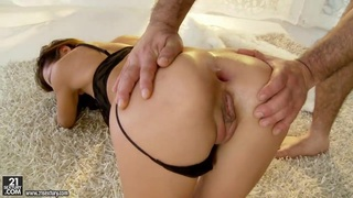 Petite Alice Romain gets assfucked hard on the carpet