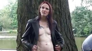 Skinny granny exhibitionist Bitez in public nudity
